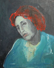 Vintage European expressionist oil painting double sided portrait