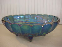 """Blue Indiana Carnival Glass Harvest Grape Wedding Footed Fruit Bowl 12"""" X 8 1/2"""""""