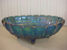 "Blue Indiana Carnival Glass Harvest Grape Wedding Footed Fruit Bowl 12"" X 8 1/2"""