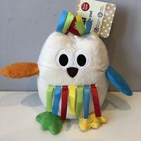 BNWT Mothercare Brights Soft Chime Baby Owl Comforter Soft Hug Toy Bird Plush
