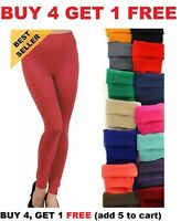 Women's FLEECE LINED LEGGINGS Thick Thermal Solid Warm Winter Long Footless New