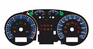 Custom speedometer instrument cluster gauge faceplate overlay Skoda Octavia
