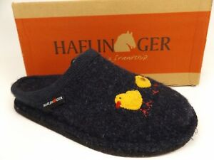 HAFLINGER Flair Gallina Captains Blue Wool Arch Support Slipper Size US 5.5-6