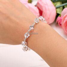 New Fashion Jewelry Women Silver Plated Alloy Rhinestone Chain Bracelet Bangle