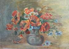 Vintage impressionist oil painting still life wild flowers signed
