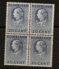 NETHERLANDS SGJ30 1951 20c BLUE  BLOCK OF 4 FINE USED