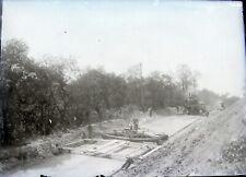 Ca 1901 ELLIOTT PA West End Pittsburgh Road Building Crew Glass Negative 5x7