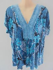LILY WHITE SIZE 14 FABULOUS BLUE TORQUOISE PATTERN TOP