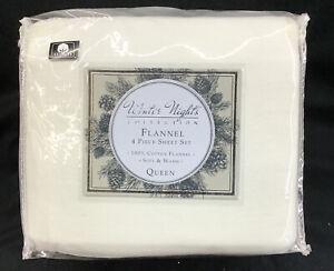 Winter Nights Collection 4-Piece Flannel Sheet Set 100% Cotton Queen, White