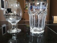 Beer Company Drinking Glasses. 2Pcs. Hoegaarden. Refined Fool Brewing Co.