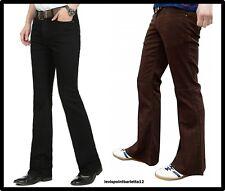 Pantaloni jeans in velluto da uomo a coste zampa svasati regular neri 44 46 48