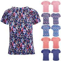 Womens Ladies Ribbed Celebrity Floral Print Glitter Cap Sleeve Pullover Tee Top