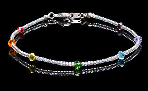 Sterling Silver Chakra Swarovski Crystal Elements and Clear Seedbead Anklet