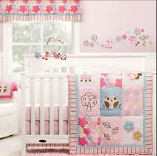Full Crib Size Graco Woodland Owls Pink 5 Pc Per Valance Bedding