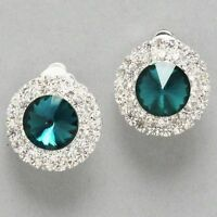 Blue zircon/clear diamante crystal CLIP ON earrings glitzy glamour parties 0225