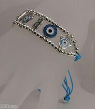 Hamsa Hand & Eye Beaded Turquoise Satin Cord strand Tie Bracelet  FREE SHIP U.S.