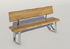 Baumkanten-Sitzbank mit Rückenlehne, Eiche natur geölt, 180 cm