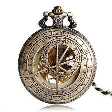 Bronze Constellation Compass Hollow Roman Numbers Mechanical Pocket Watch Chain