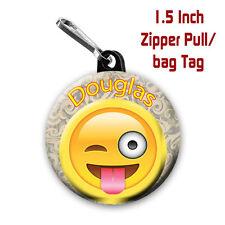 Emoji Zipper Pulls Two Personalized 1.5 Inch Zipper Pull/Bag Tags Winking Emoji