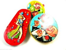 Vintage Tin Noise Makers 1940S Set Of 3 Leggy Woman Us Metal Toymakers