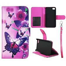 Flip Wallet Violet Butterfly Flower For Iphone 4 , 4S With Id Pouch Case Cover