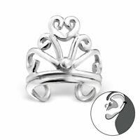 925 Sterling Silver Crown Design Ear Cuff
