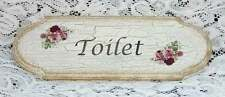 SHABBY CHIC TOILET  LARGE DOOR SIGN / PLAQUE FLOWERS