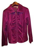 Jane Ashley Womens Sz XL Jacket Casual Lifestyle Zip Front Purple Velour Jacket