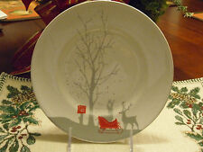 222 FIFTH RED SLEIGH SET/6 SALAD PLATES SILVER DEER AND RED SLEIGH CHRISTMAS
