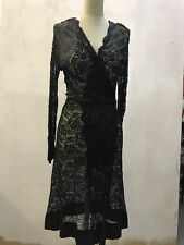 1930s Black Lace wrap Dress / jacket Small / UK 8 / 10 opera crepe sleeve detail
