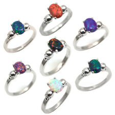 Skull Rings 4 Claw 1.4ct Oval Opal in Various Colours Silver Engagement