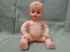 "Vintage Blue Box Toys 10"" Plastic Baby Doll Molded Hair Blue Sleepy Eyes Drinks"