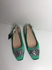 ZARA GREEN FLAT SLINGBACK SHOES WITH BEADED APPLIQUÉ NEW RRP£70