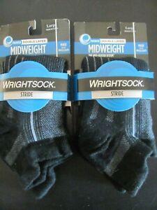 WrightSock Men's Stride tab Low Cut Socks Black Grey Size L