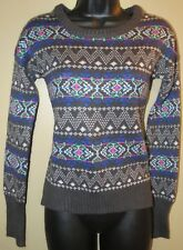 "Women's Small ""SO"" Gray Printed Sweater"