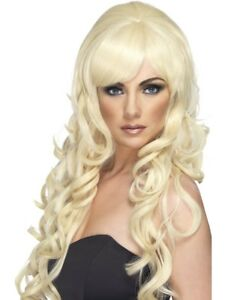 Long Blonde Curly Pop Star Wig Ladies Glamour Fancy Dress Accessory