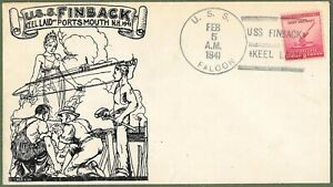 USS Finback. Keel Laying Commemorative Cover 1941, USS Falcon postmark.