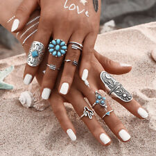 Vintage 9PCS/Set Silver Punk Ring Womens Retro Geometry Finger Rings Boho Style