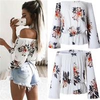 Women Summer Loose Casual Off Shoulder Shirt Crop Tops Blouse Ladies clothes