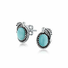 Larimar Gemstone Bezel Leaf Rope Edged Stud Earrings Sterling Silver
