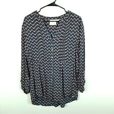 NEW Maeve Anthropologie Button Down Top Blouse Large Women Polka Dots Navy Pink