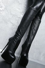MADE IN ITALY PYTHON LEATHER LOOK STRETCH BOOTS HIGH HEELS G62 LEDER STIEFEL 35