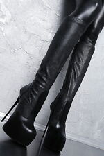 MADE IN ITALY PYTHON LEATHER LOOK STRETCH BOOTS HIGH HEELS G62 LEDER STIEFEL 37