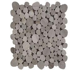 1 Netz Flusskiesel Holzfarbend Grau Mosaik Fliesen Naturstein Glas Granit