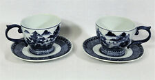 2 BOMBAY CO Asian Oval Tea Cup And Saucer Sets Cobalt Blue And White Porcelain