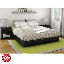 Platform Bed Frame Queen Size With Molding Wooden Black Storage Rack Bedroom New