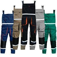 Mens Bib and Brace Overalls Work Trousers Bib Pants Knee Padded Multi Pockets