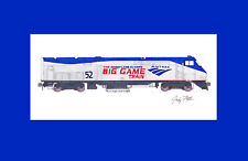 """Amtrak P42DC #52 """"Big Game Train"""" 11""""x17"""" Matted Print by Andy Fletcher signed"""