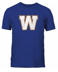 Men's Winnipeg Blue Bombers Royal Primary Logo CFL Football 100% Cotton T Shirt