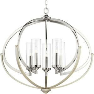 Chandelier 5-Light Single Tier in Polished Nickel with Adjustable Hanging Length